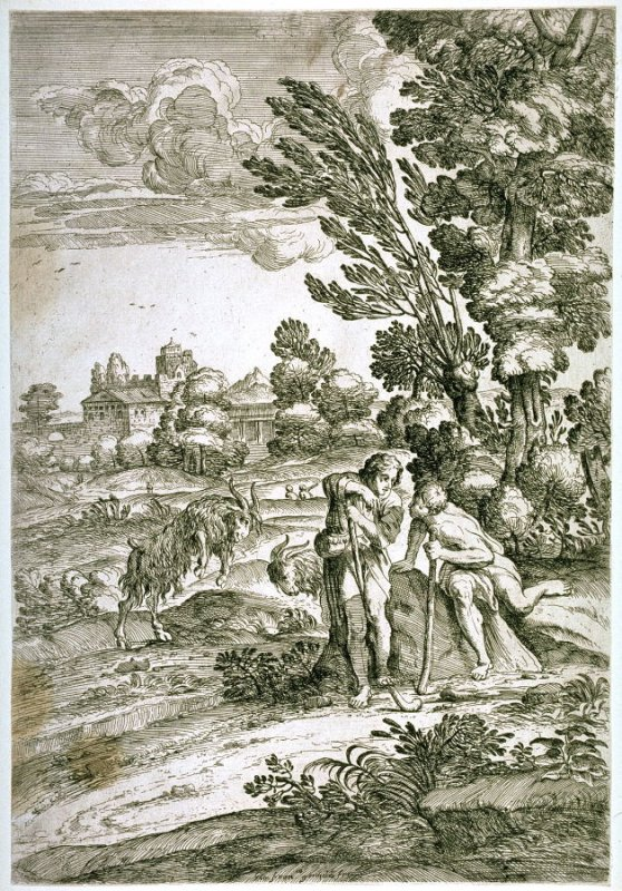 Landscape with Two Fighting Goats