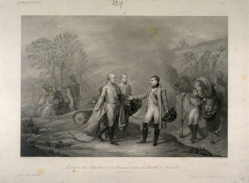The meeting of Napoleon and Francois II after the Battle of Austerlitz, 4 December 1805