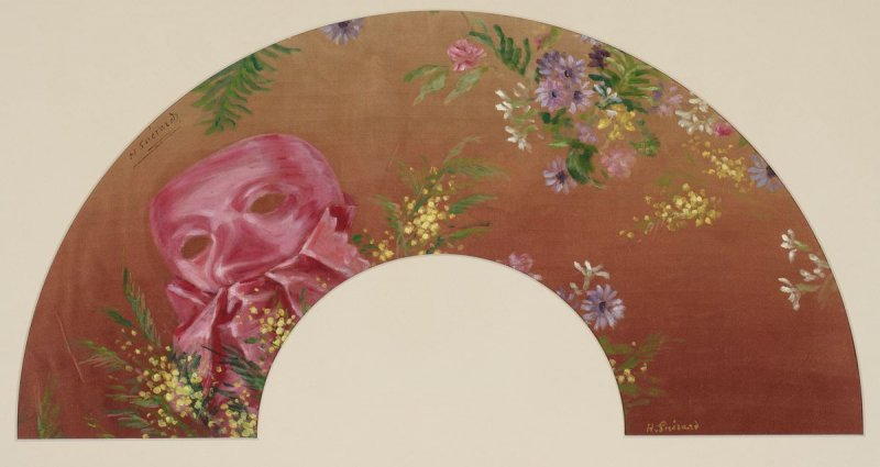 Fan-shaped Composition: Mask and Flowers