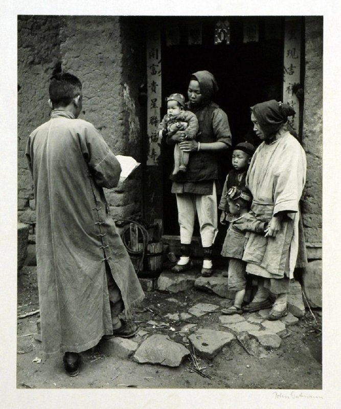 The visit of a census taker to a peasant home in Yunnan is an event of considerable interest. He is a member of a sociological research team of the University of Kunming and walks from village to village to make a record of vital statistics such as birth