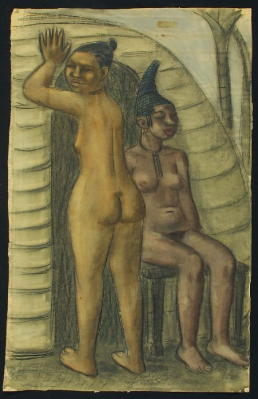 Untitled (Two Nude Female African? Figures, One Standing, One Seated)