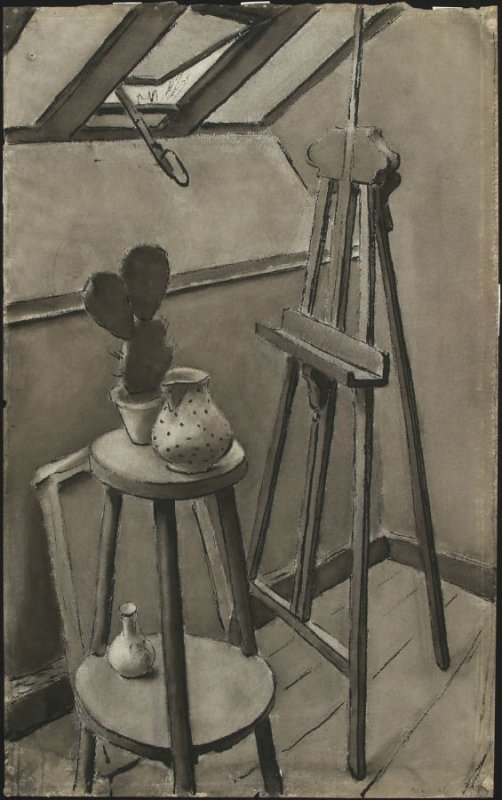 a) Untitled (Still Life with Easel and Cactus)