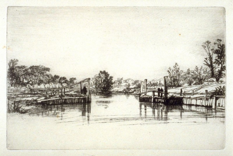 Egham Lock - Plate XIII from the Portfolio Études à l'eau-forte (with text by Philippe Burty)