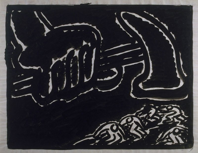 Study for the linocut, The Hammer