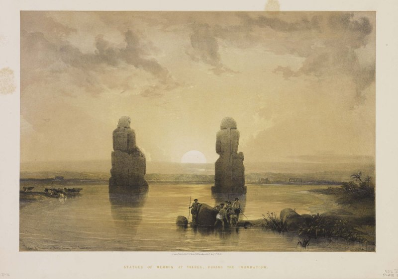 Statues of Memnon at Thebes, During the Inundation - Egypt