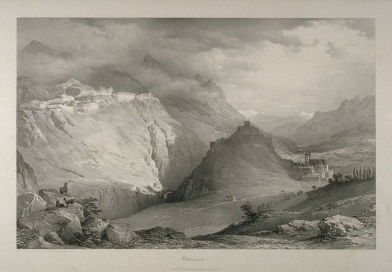 Briançon, plate 9 in the disbound book Views in the Department of The Isère and the High Alps, Chiefly Designed to Illustrate The Memoirs of Felix Neff by Dr. Gilly. Lithographed by Louis Haghe from Sketches by the Rt. Honble. Lord Monson (London: W. H. D