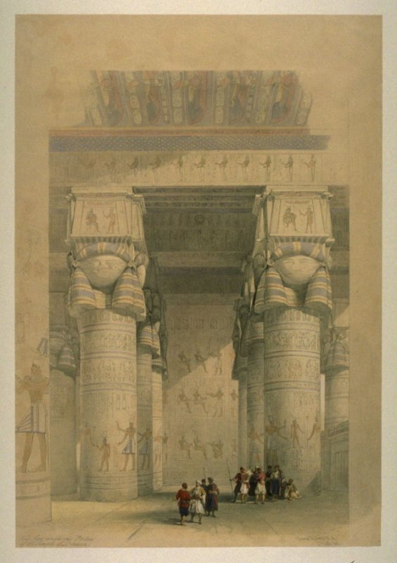 View from under the Portico of the Temple of Dendera - Egypt