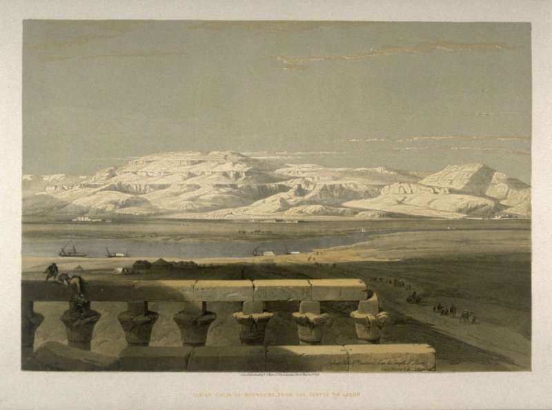 Lybian Chain of Mountains, from the Temple of Luxor - Egypt
