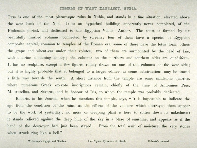 Text page from Egypt Vol.I, 25 -Temple of Wady Kardassy, Nubia