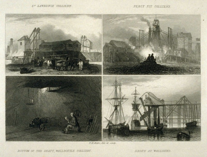 Four Small Images; 1)St. Lawrence Colliery, 2)Percy Pit Colliery, 3)Bottom Of The Shaft, Wall Bottle Colliery, 4)Drops At Wallsend.