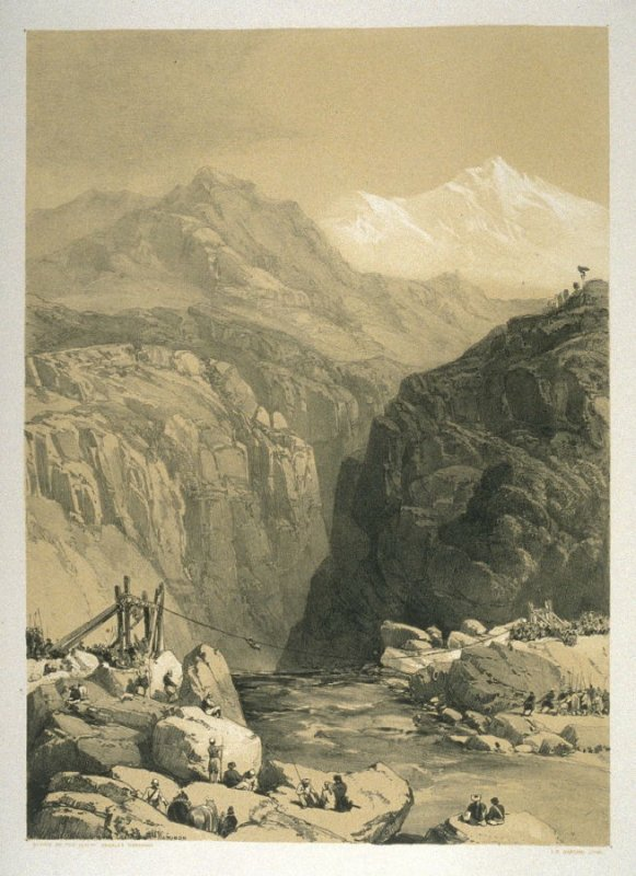 Rope Bridge of Jhula across the Chunab River, sixteenth plate in the book, Recollections of India … Part I. British India and the Punjab (London: Thomas M'Lean, 1847)