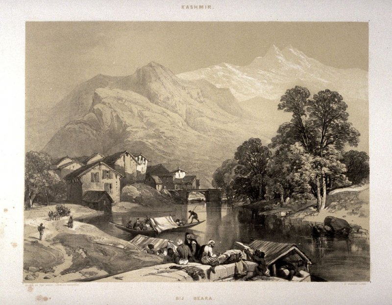 Bij-Beara between Islamabad and the City of Kashmir, twenty-first plate in the book, Recollections of India … Part I. British India and the Punjab (London: Thomas M'Lean, 1847)