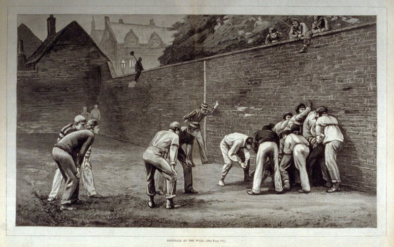Football at the Wall - from Harper's Weekly (February 26, 1876), pp. 168-169