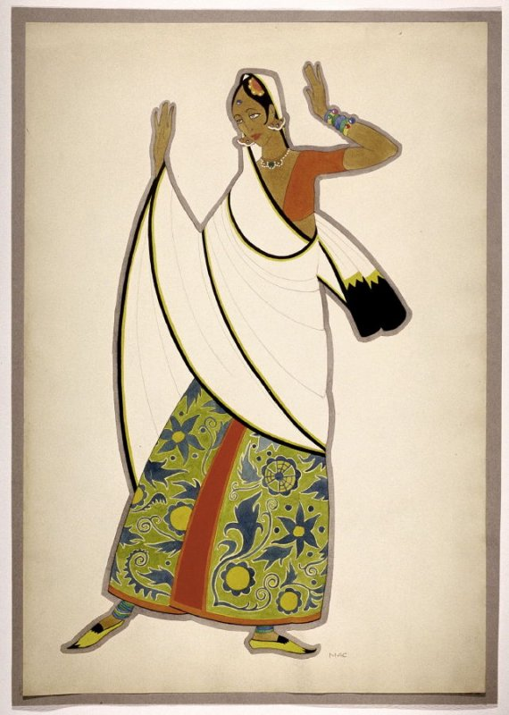Untitled (Woman in a White Sari), one of a set of ten costume designs for the ballet, Bluebeard