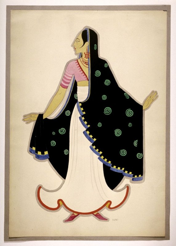 Untitled ( Woman in a Black Sari), one of a set of ten costume designs for the ballet, Bluebeard