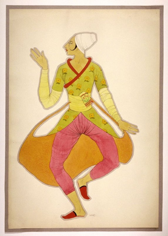 Untitled (Male Figure with Pink Leggings), one of a set of ten costume designs for the ballet, Bluebeard