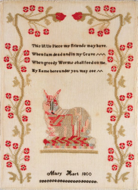 """Sampler: calico cat and verse; inscribed, """"Mary Hart 1800"""""""