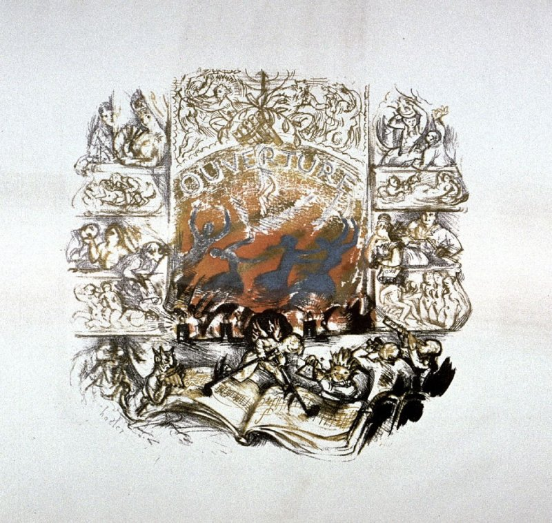 One of ten lithographs to Mozart's Marriage of Figaro: Ouverture