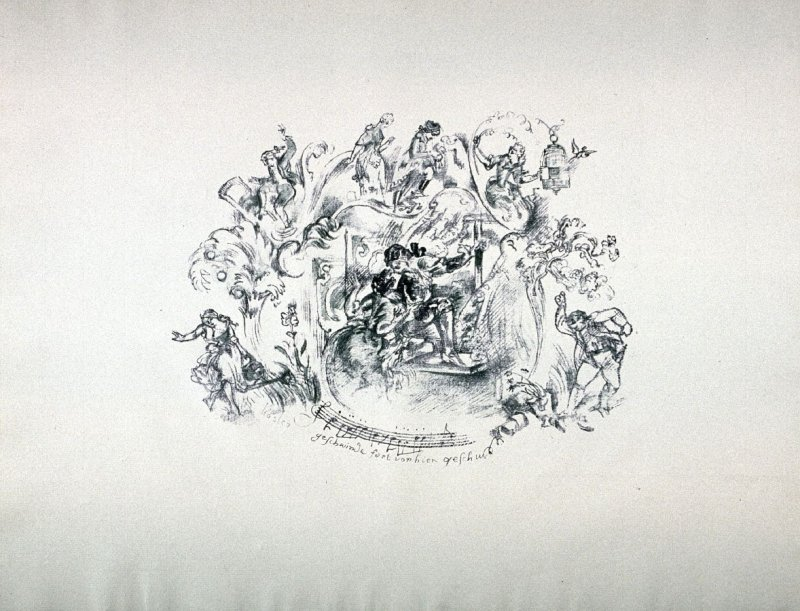One of ten lithographs to Mozart's Marriage of Figaro