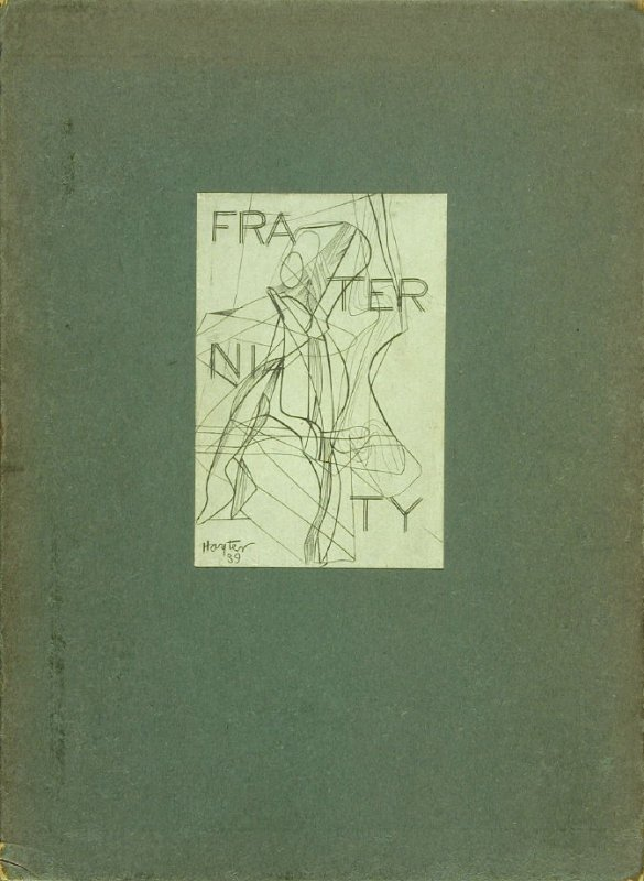 Untitled, title (pasted on slipcase), in the book Untitled, illustration 2, in the book Fraternity by Stephen Spender (translated by Louis Aragon) (publisher unlisted, 1939).