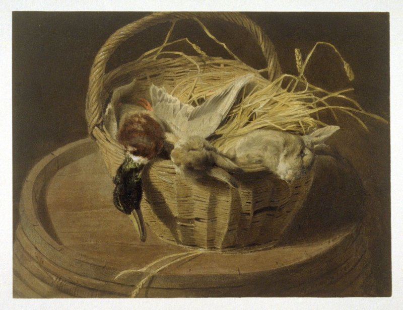 Still Life with Rabbits and Mallardin a Basket