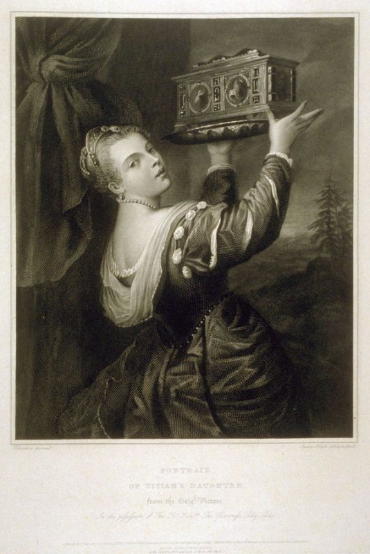 Portrait of Titian's Daughter [ same image as La Cassette], ninth plate in the book, [Buchanan's Gallery], an untitled collection of engravings primarily from Select Work of Engravings (London: Historic Gallery, 1813-14)]