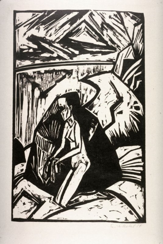 Kniende am Stein (Woman Kneeling at a Rock), reprinted for publication in Elf Holzschnitte, 1912-1919: Erich Heckel bei J. B. Neumann (Eleven Heckel Woodcuts, 1912-1919: Erich Heckel at J. B. Neumann) (Berlin: J. B. Neumann, 1921)