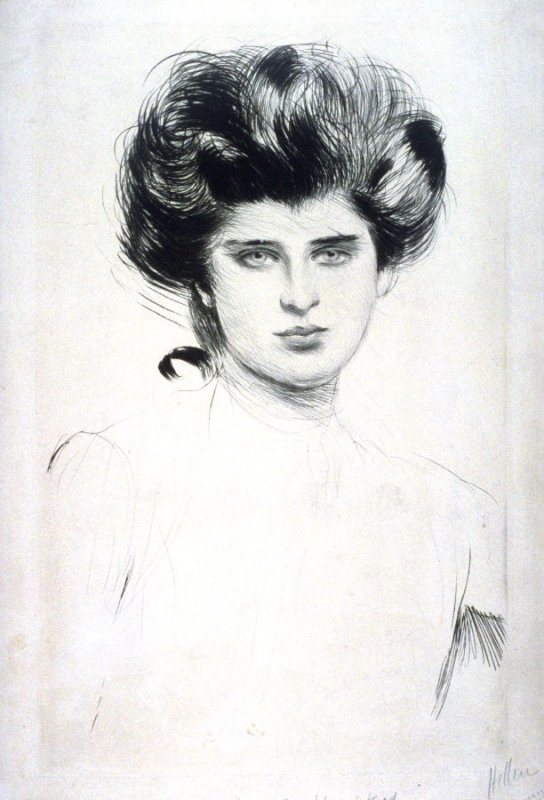 Study of a young woman's head