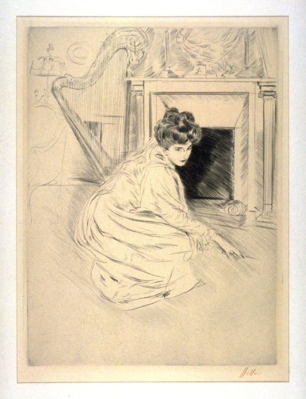 Lady kneeling in front of a fireplace