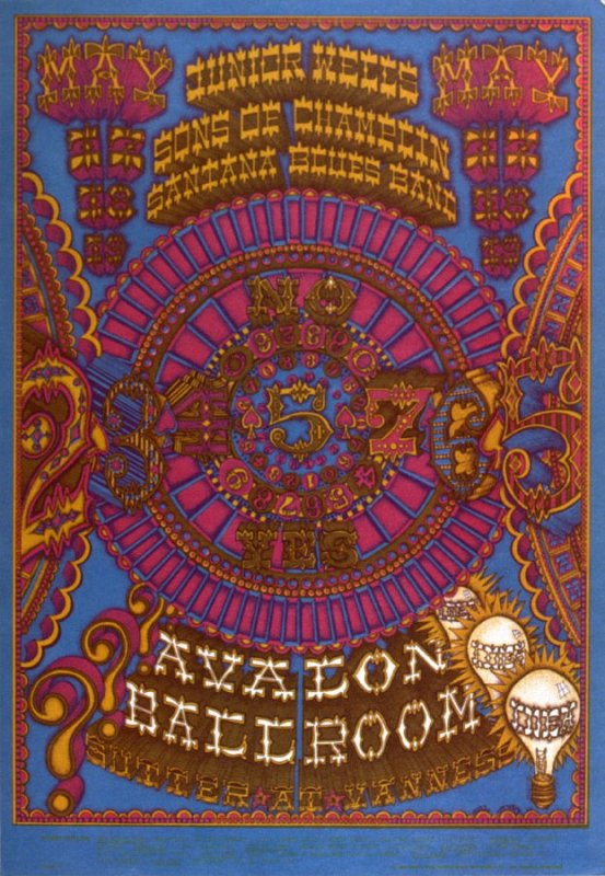 """2.45765,"" Junior Wells, Sons of Champlin, Santana, May 17 - 19, Avalon Ballroom"