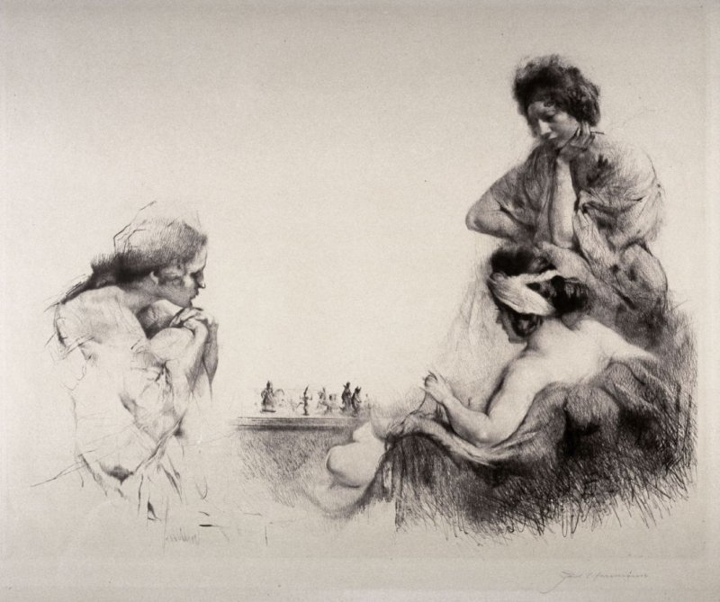 The Chess Players - 3 female figures