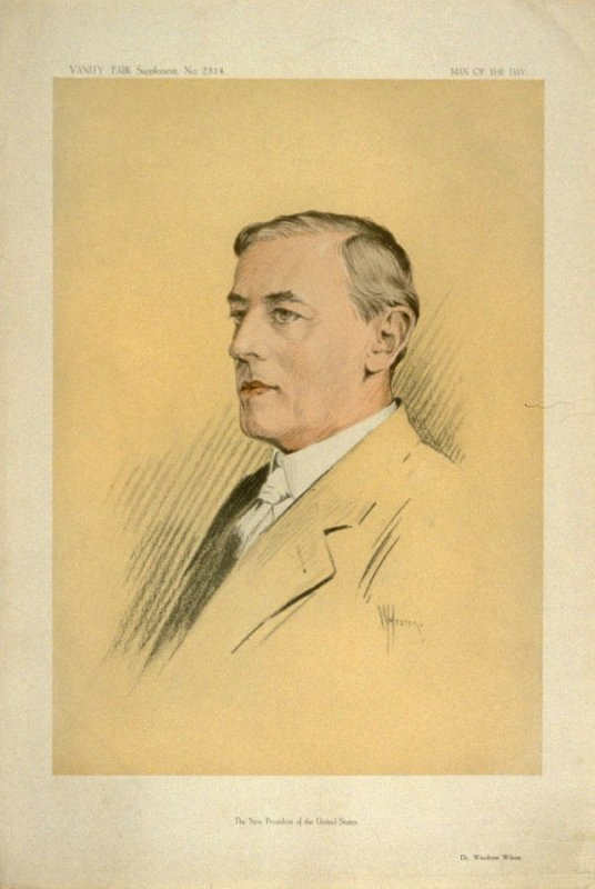 The New President of the United States (Dr. Woodrow Wilson), Men of the Day No. 2314, from Vanity Fair Supplement