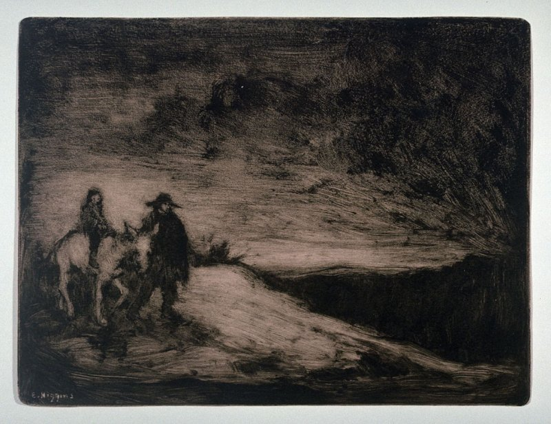 Landscape and figures, one mounted and one leading