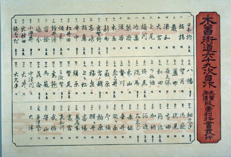 Title page and table of contents from a facsimile edition of Sixty-nine Stations of the Kiso Highway (Kisokaido rokujukyu tsui)
