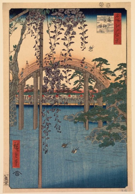 Precincts of the Tenjin Shrine at Kameido (Kameido Tenjin keidai), no. 57 from the series One Hundred Views of Famous Places in Edo (Meisho Edo hyakkei)