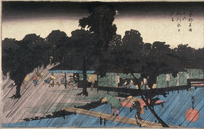 Evening Rain on the Banks of the Tadasu River (Tadasugawara yudachi), from the series Famous Places in Kyoto (Kyoto meisho no uchi)