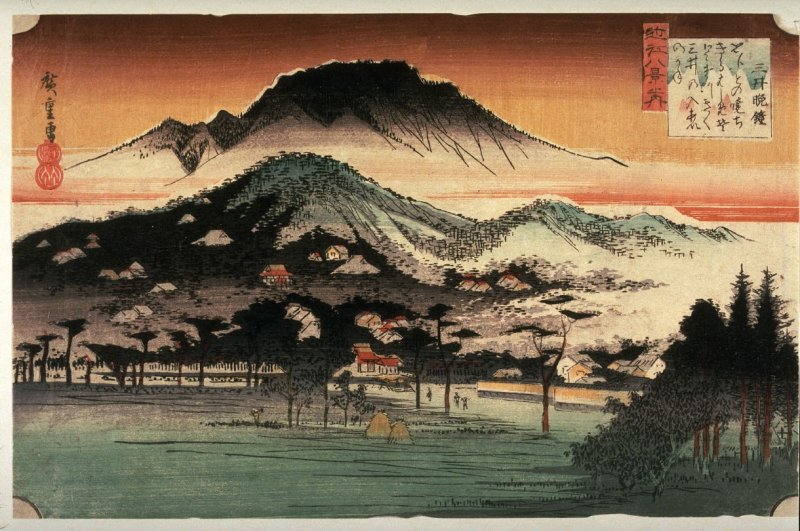 Evening Bell at Mii Temple (Mii no bansho), from the series Eight Views of Omi Province (Omi hakkei)