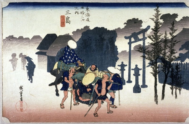Morning Mist at Mishima (Mishima asagiri), no. 12 from the series Fifty-three Stations of the Tokaido (Tokaido gojusantsugi no uchi)