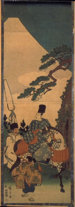 Narihira and Attendants Pass Mt. Fuji on Their Eastern Journey