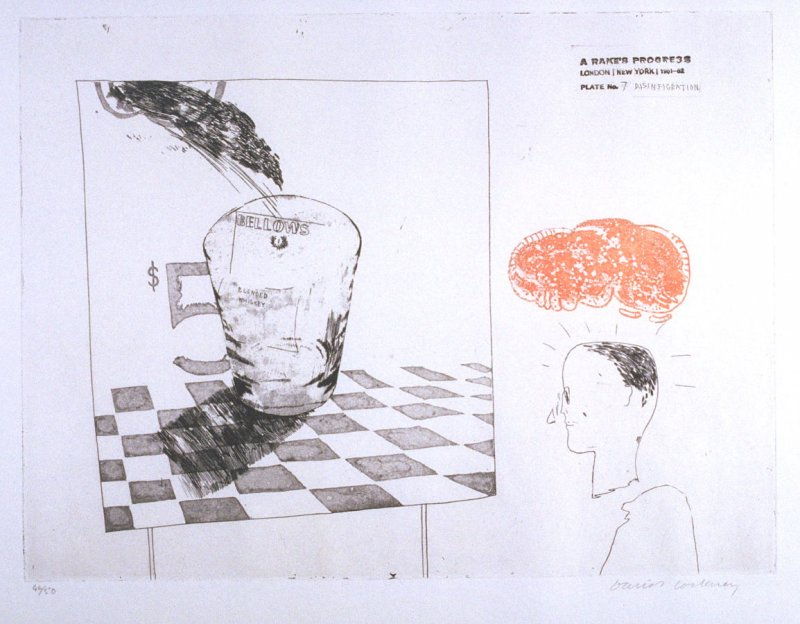 "Plate No.7, ""Disintigration"" in the portfolio A Rake's Progress (London: Editions Alecto, The Print Centre, 1963)"