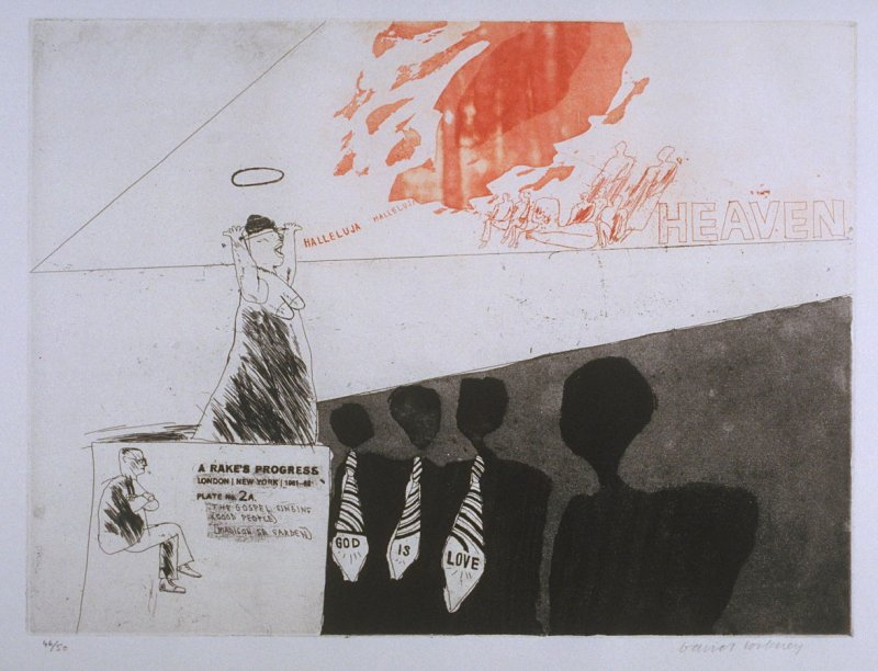 """Plate No. 2A, """"The Gospel Singing (Good People, Madison Sq. Garden),"""" in the portfolio A Rake's Progress (London: Editions Alecto, The Print Centre, 1963)"""