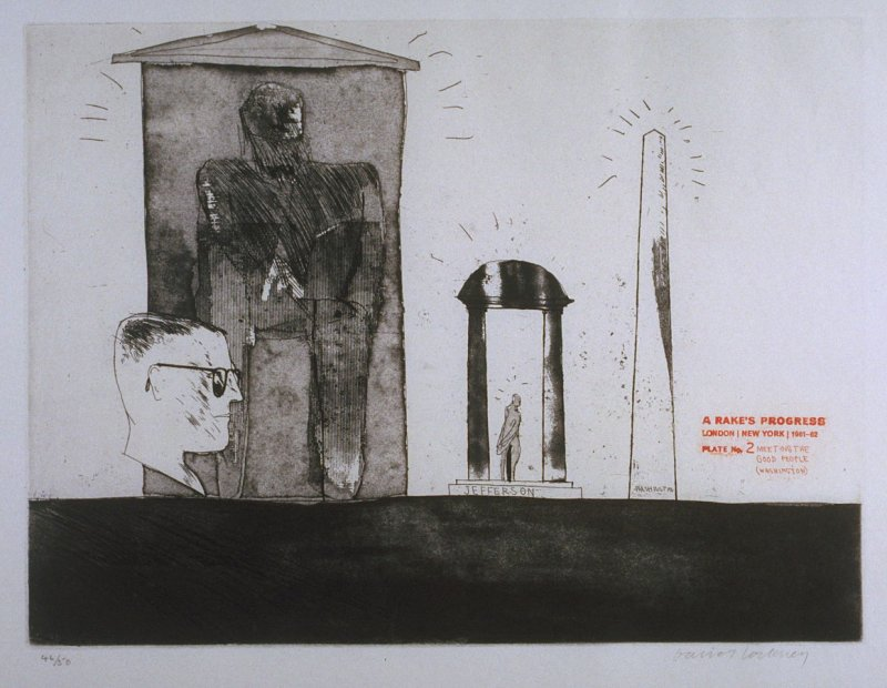"Plate No. 2, "" Meeting the Good People (Washington),"" in the portfolio A Rake's Progress (London: Editions Alecto, The Print Centre, 1963)"