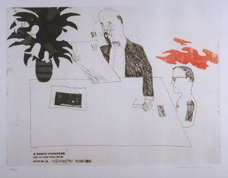 """Plate No.1A, """"Receiving the Inheritance,"""" in the portfolio A Rake's Progress (London: Editions Alecto, The Print Centre, 1963)"""