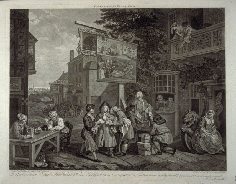 One of Four Prints of an Election: Canvassing for Votes (plate II)