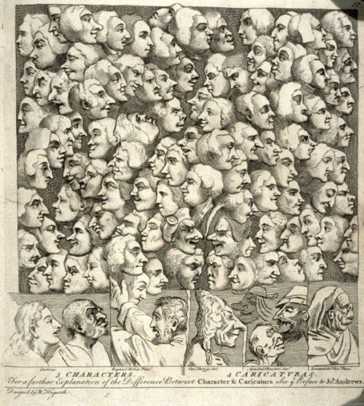 3 Characters/ 4 Caricaturas, pl. 57 in the book The Artist's Vade-Mecum (London: R. Sayer and J. Bennett, 1776)