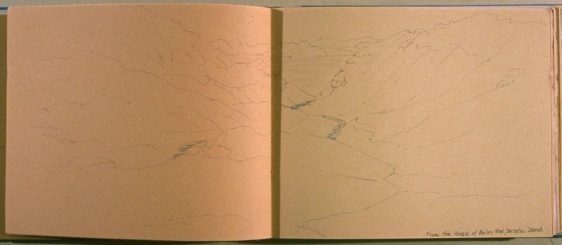 From the Ridge of Bailey Head, Deception Island, twenty-first image from Travel Sketchbook of Antarctica