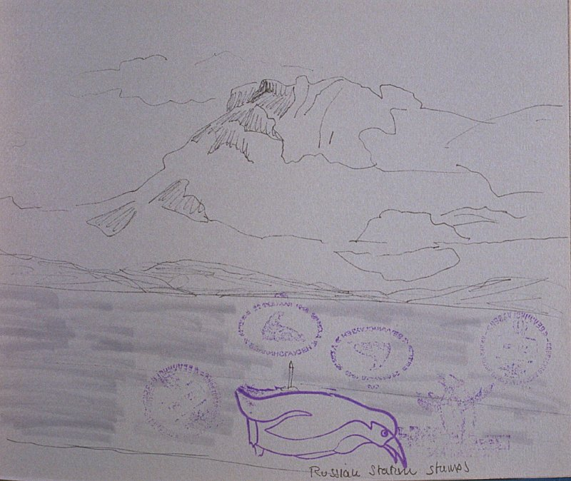 Russian Station Stamps, forty-second image from Travel Sketchbook of Antarctica