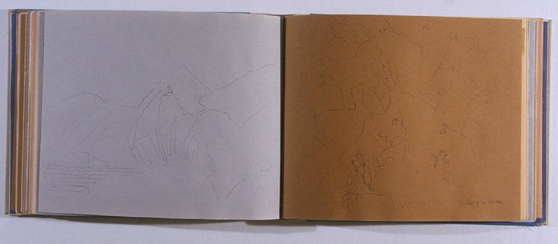 Climbing a Rookery, fifty-sixth image from Travel Sketchbook of Antarctica