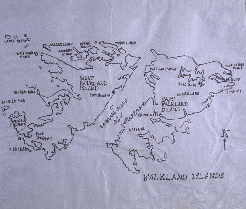 Map of the Falkland Islands, sixty-seventh image from Travel Sketchbook of Antarctica