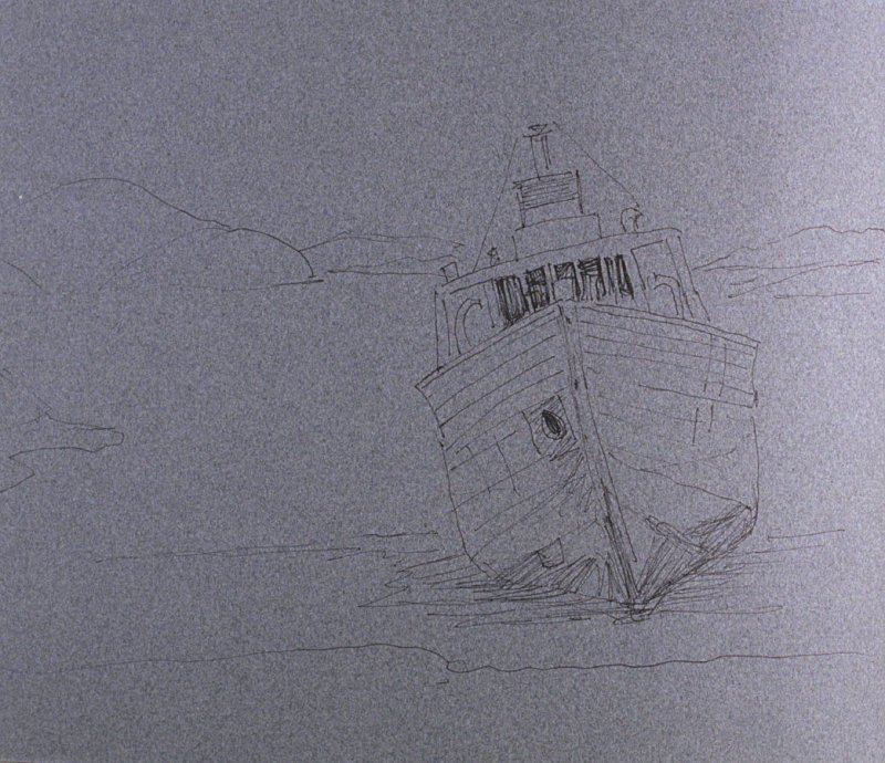 Boat in Water, seventieth image from Travel Sketchbook of Antarctica